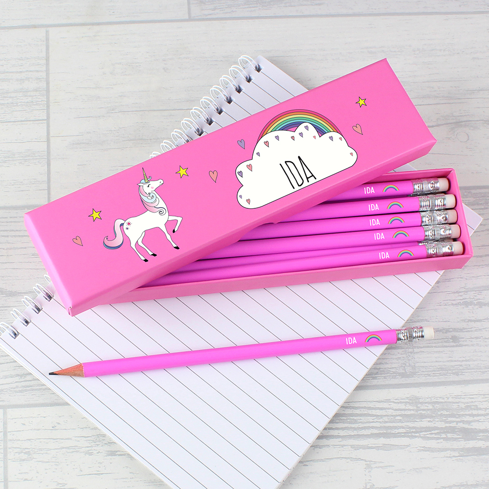 Picture of Personalised Unicorn Box of 12 Pink HB Pencils