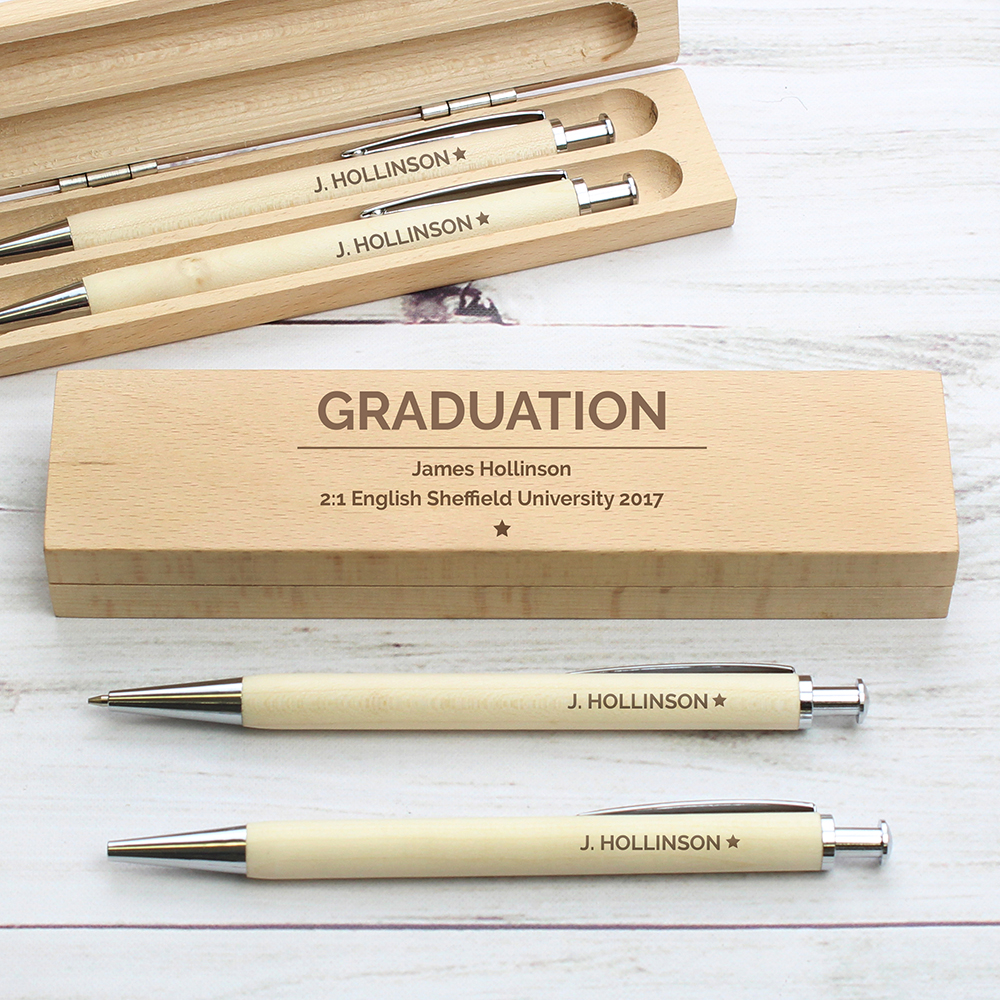 Picture of Personalised Classic Wooden Pen & Pencil Box Set