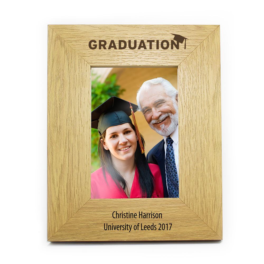 Picture of Personalised Oak Finish 4x6 Graduation Photo Frame