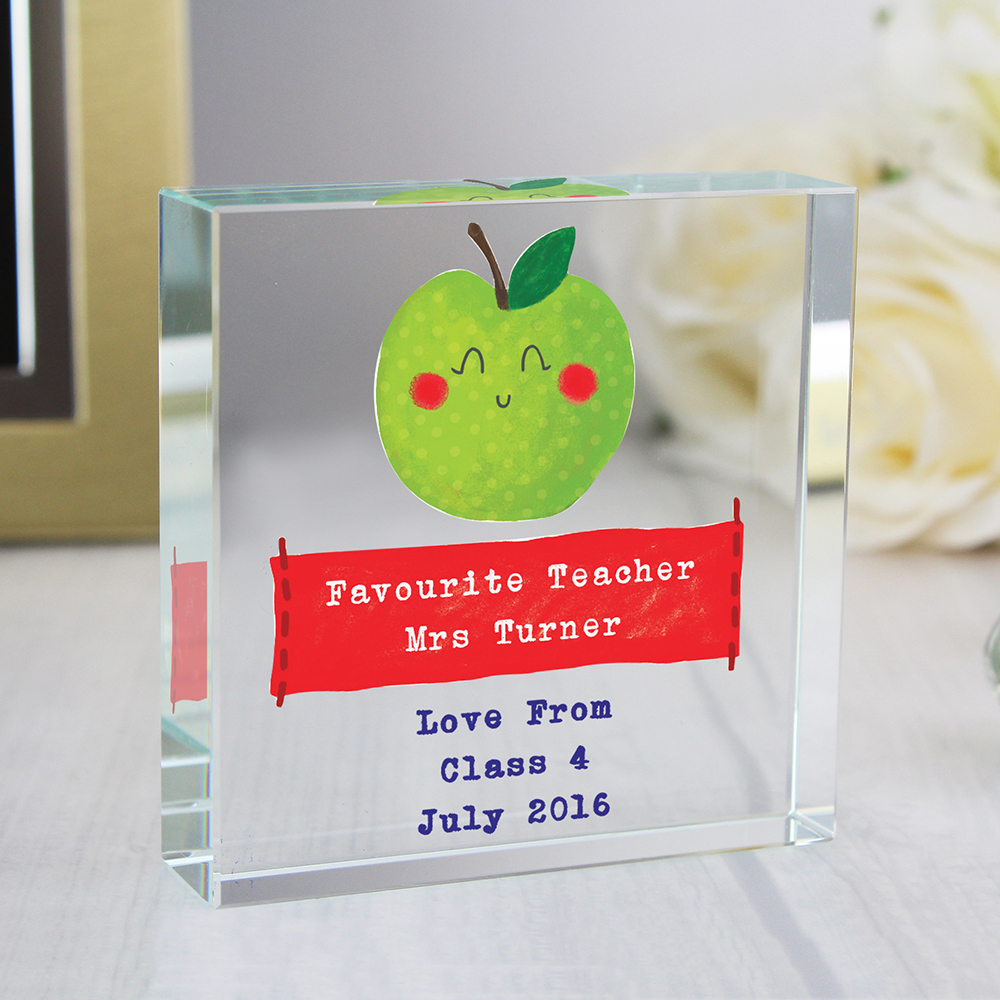 Picture of Personalised Apple for the Teacher Large Crystal Token