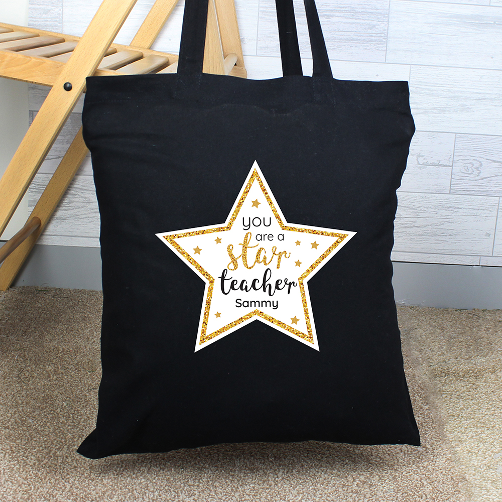 Picture of Personalised Star Teacher Black Cotton Bag