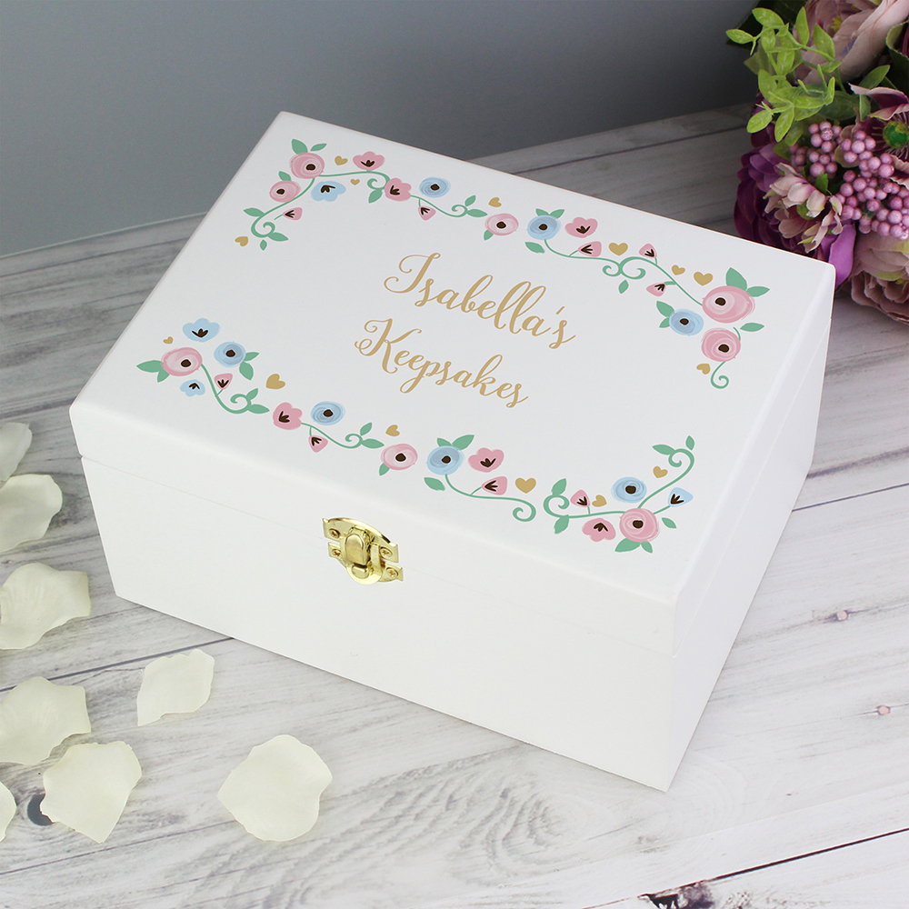 Picture of Personalised Fairytale Floral White Wooden Keepsake Box