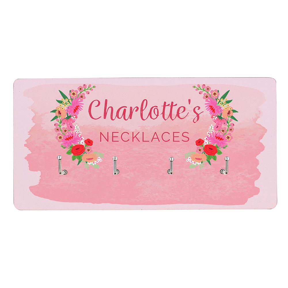 Picture of Personalised Floral Watercolour Jewellery Hooks