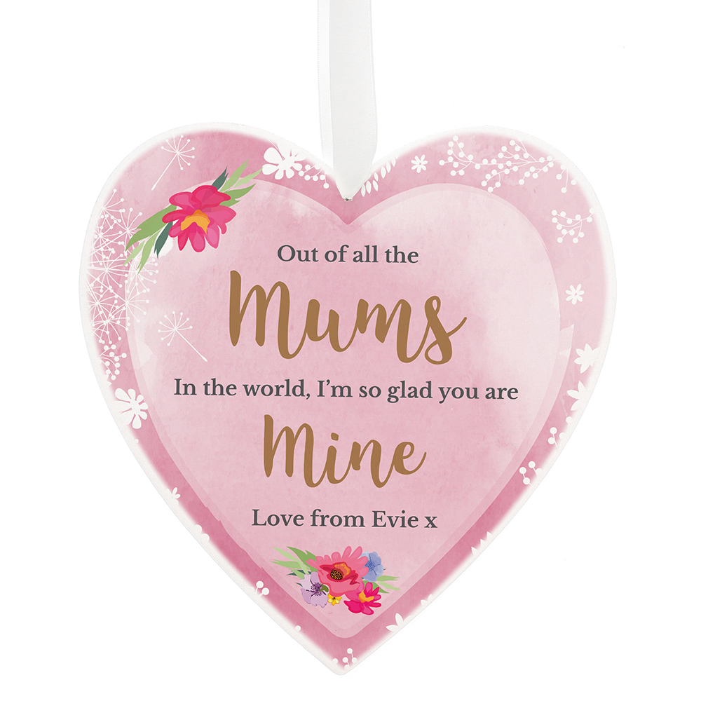 Picture of Personalised Floral Watercolour Large Wooden Heart Decoration