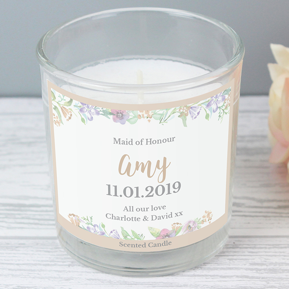 Picture of Personalised Floral Watercolour Scented Jar Candle