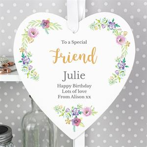 Picture of Personalised Floral Watercolour Wooden Heart Decoration