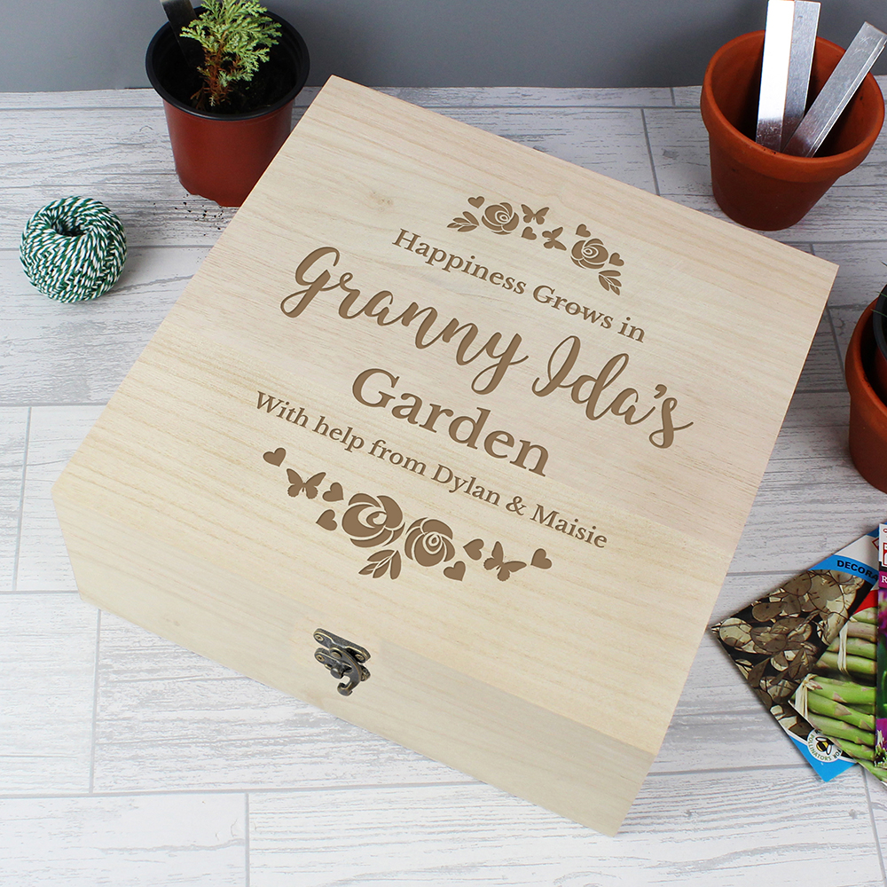 Picture of Personalised Floral Wooden Keepsake Box