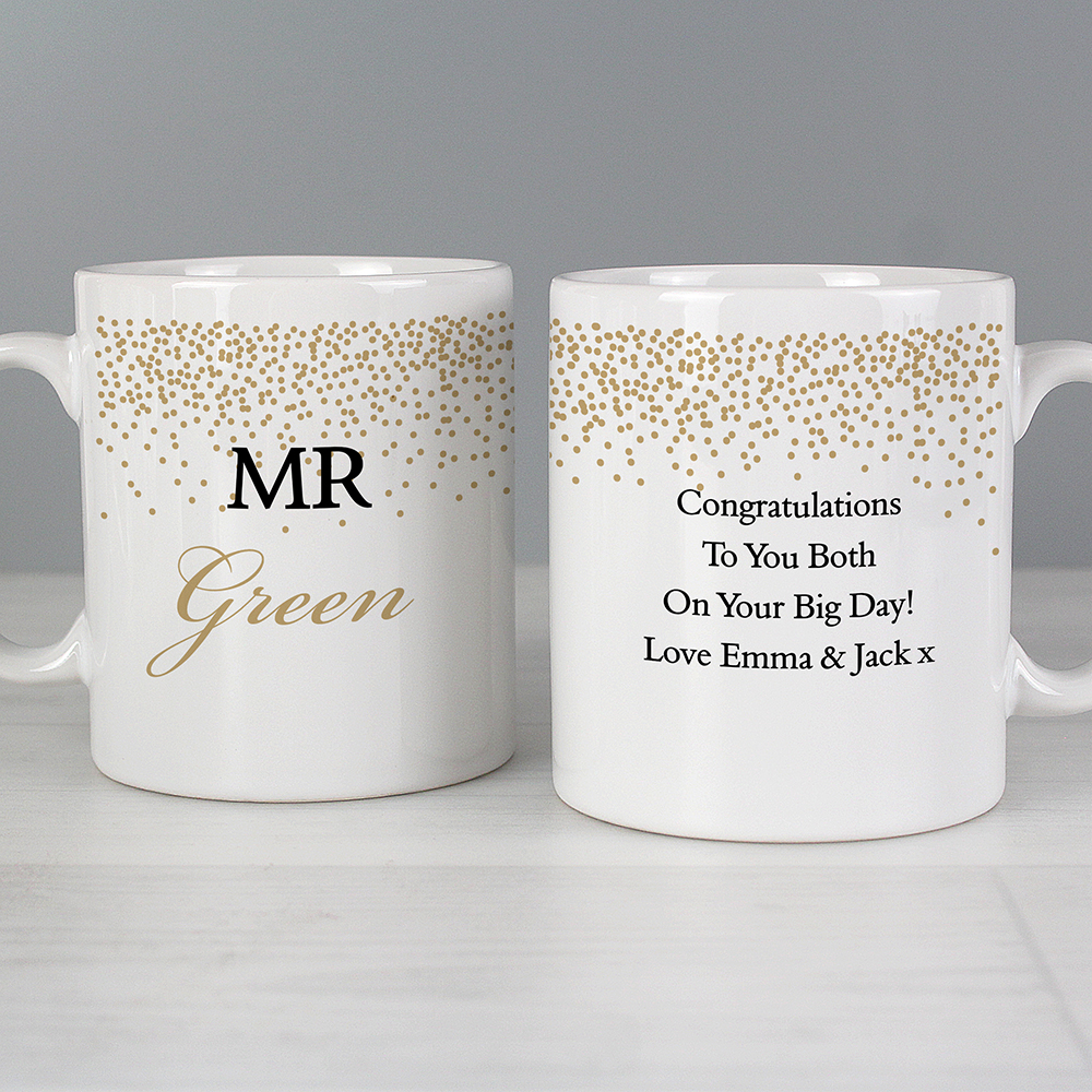 Picture of Personalised Gold Confetti Mug Set