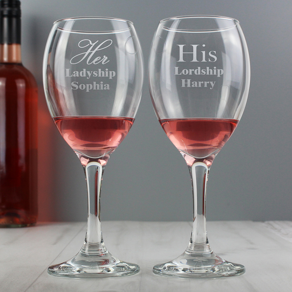 Picture of Personalised His & Her Wine Glass Set