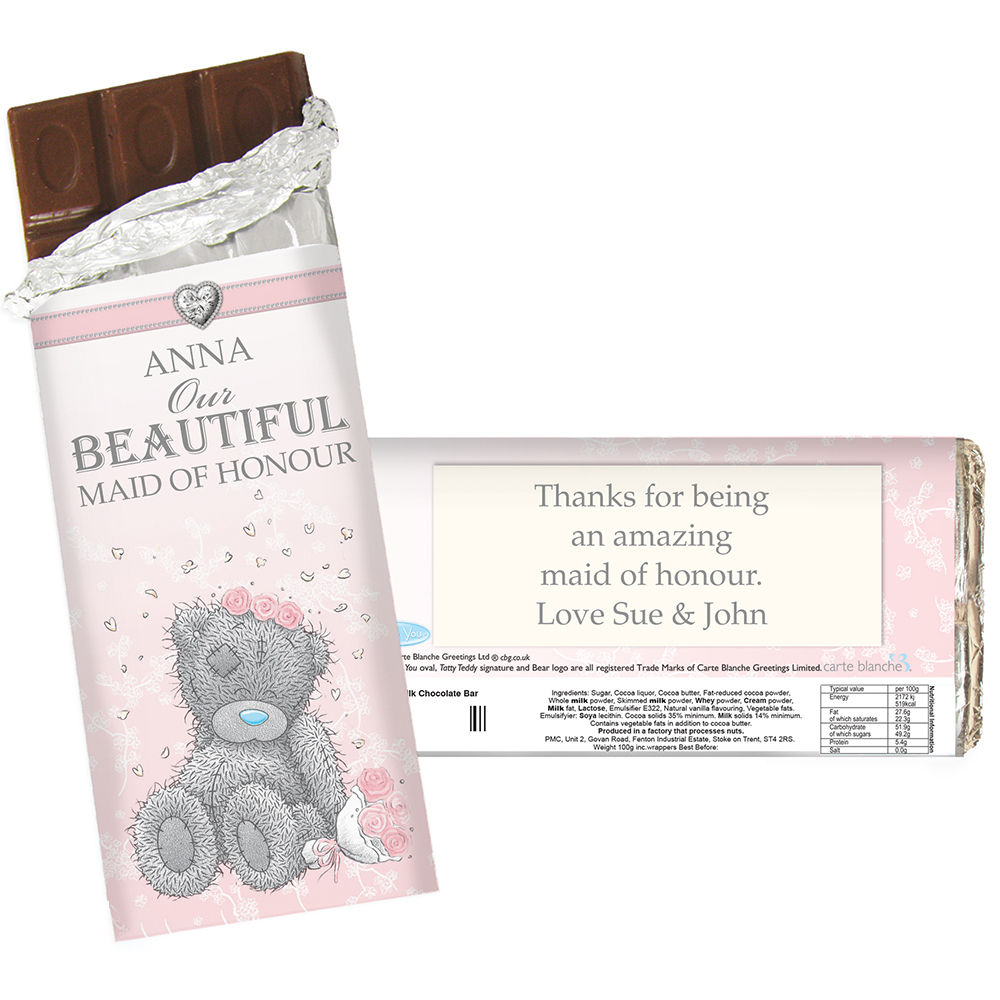 Picture of Personalised Me To You Wedding Milk Chocolate Bar (Female)