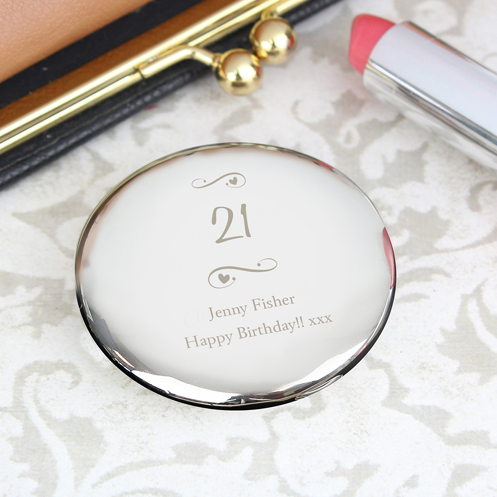Picture of Personalised Message Swirls & Hearts Compact Mirror
