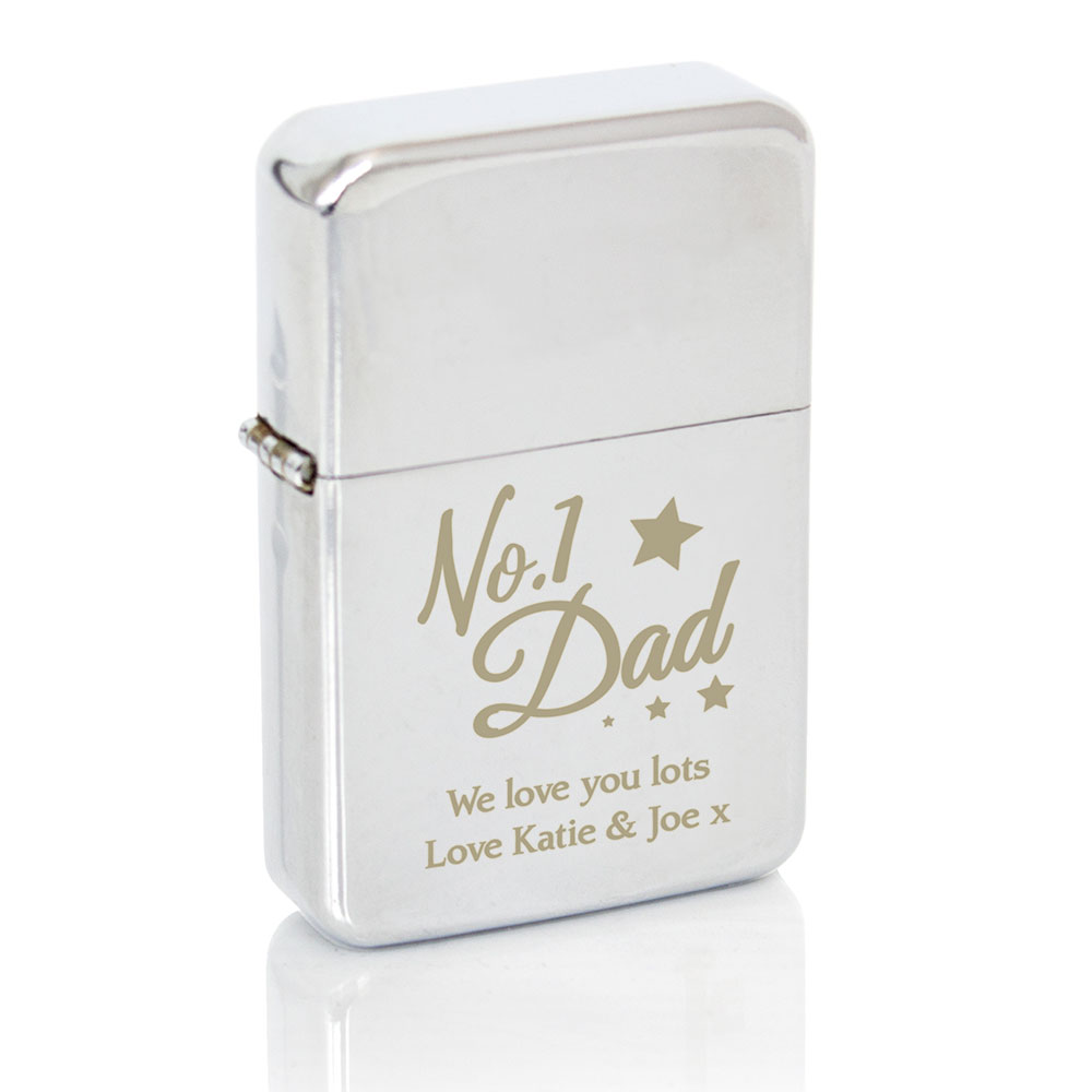 Picture of Personalised No.1 Dad Silver Lighter