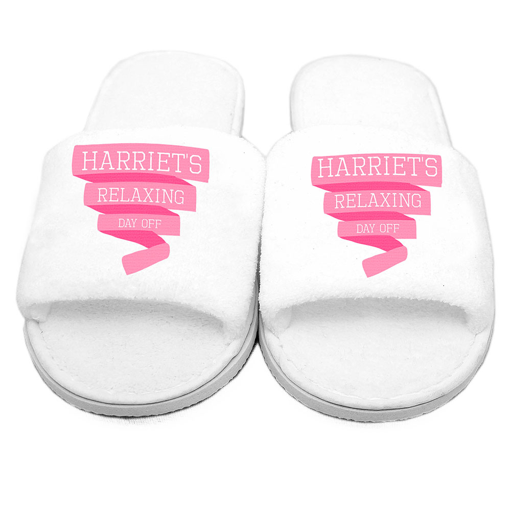 Picture of Personalised Pink Banner Velour Slippers