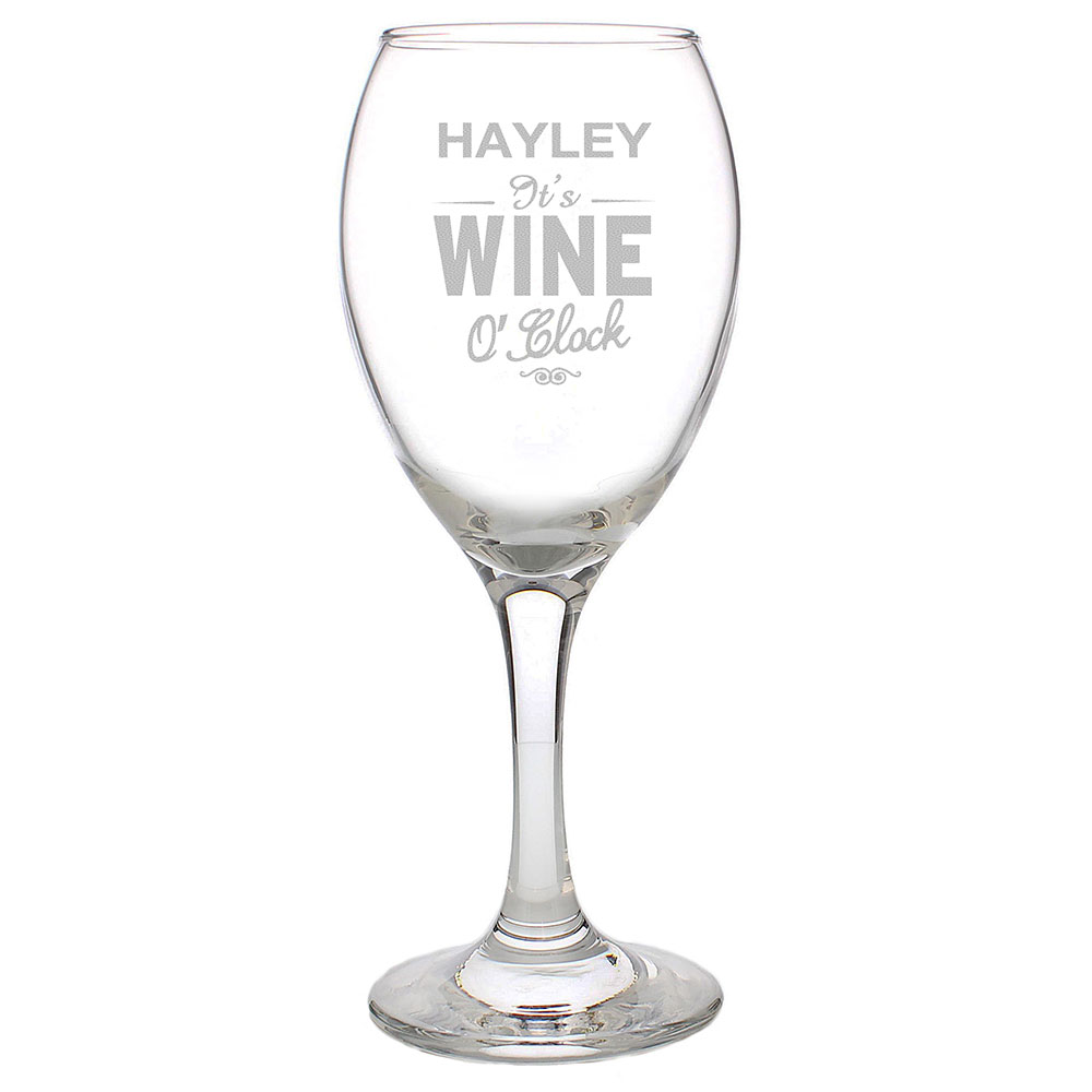 Picture of Personalised Wine O'Clock Engraved Wine Glass