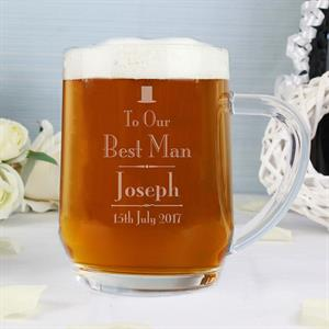 Picture of Personalised Decorative Wedding Best Man Tankard