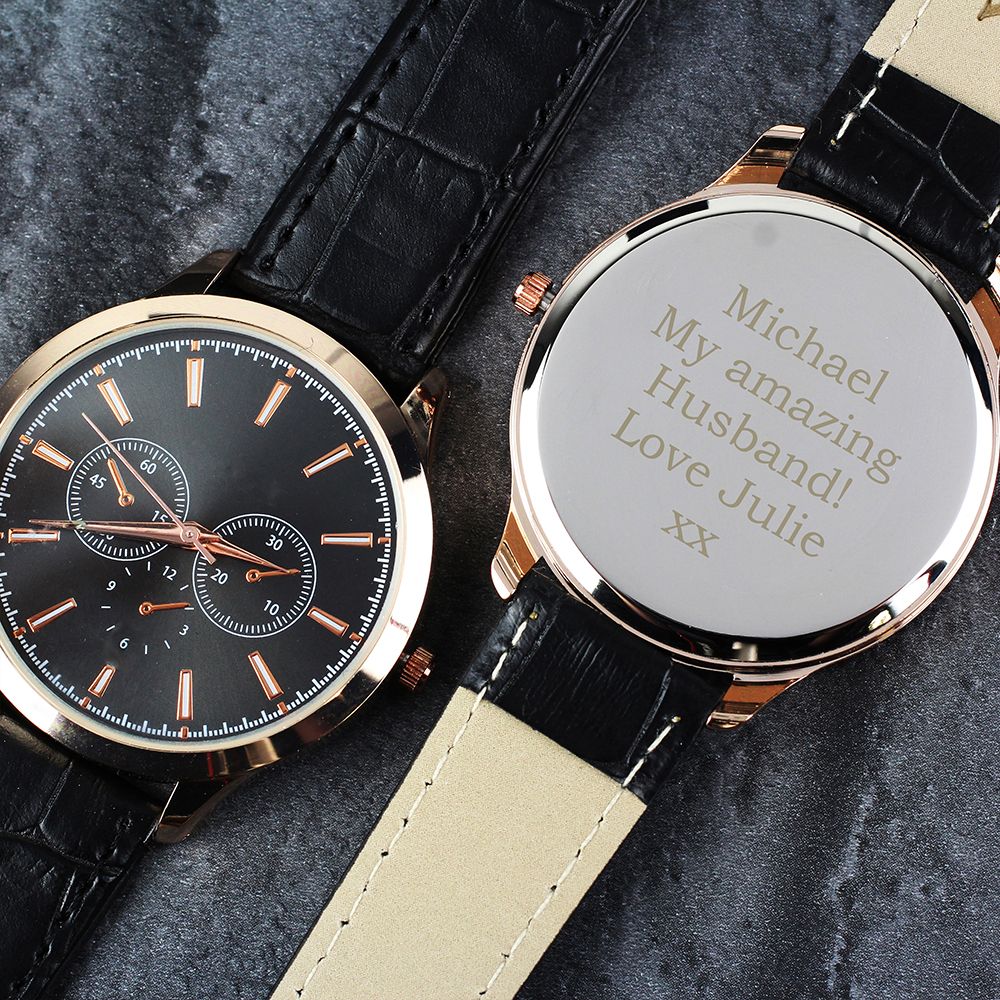 Picture of Personalised Mens Rose Gold Tone Watch with Presentation Box