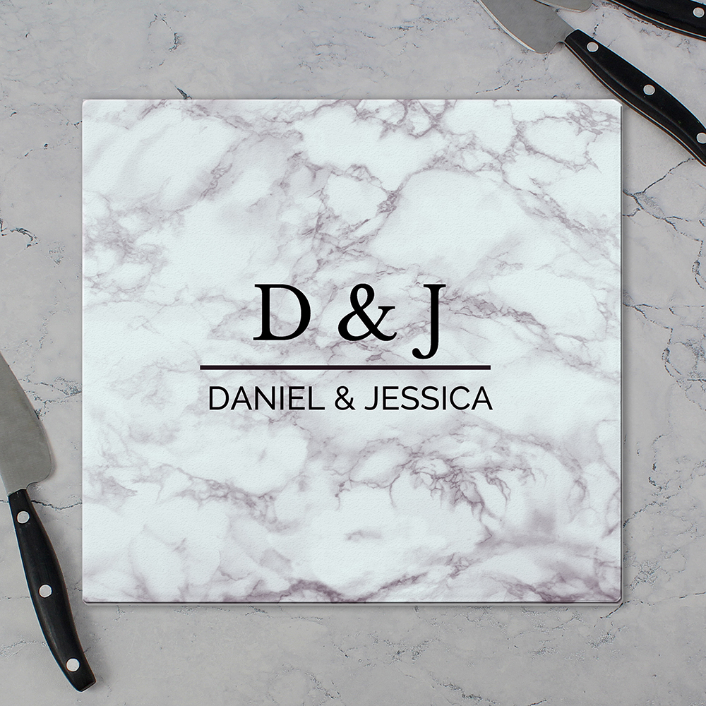 Picture of Personalised Marble Effect Glass Chopping Board