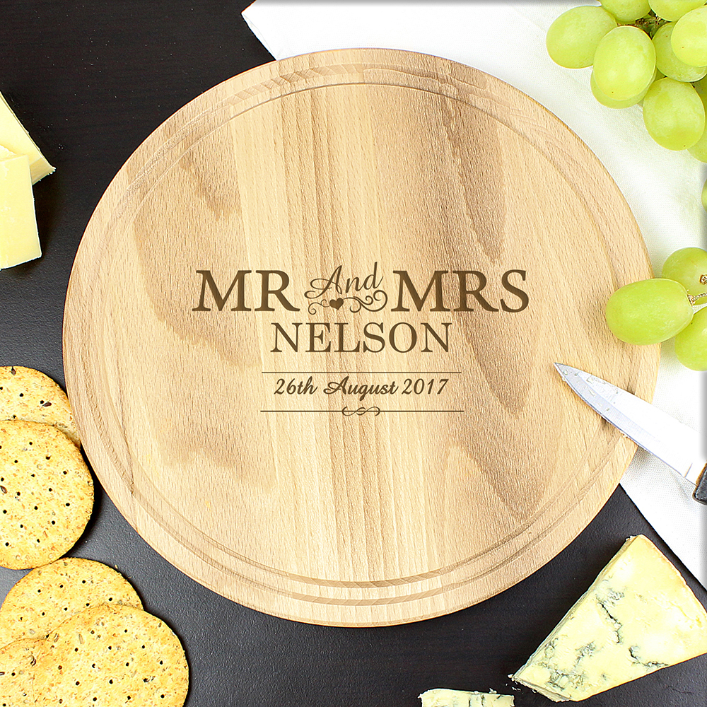 Picture of Personalised Mr & Mrs Round Chopping Board