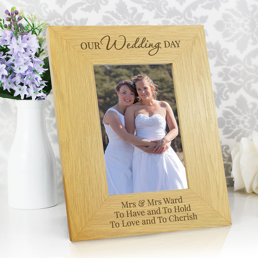 Picture of Personalised 'Our Wedding Day' Oak Photo Frame (4x6)