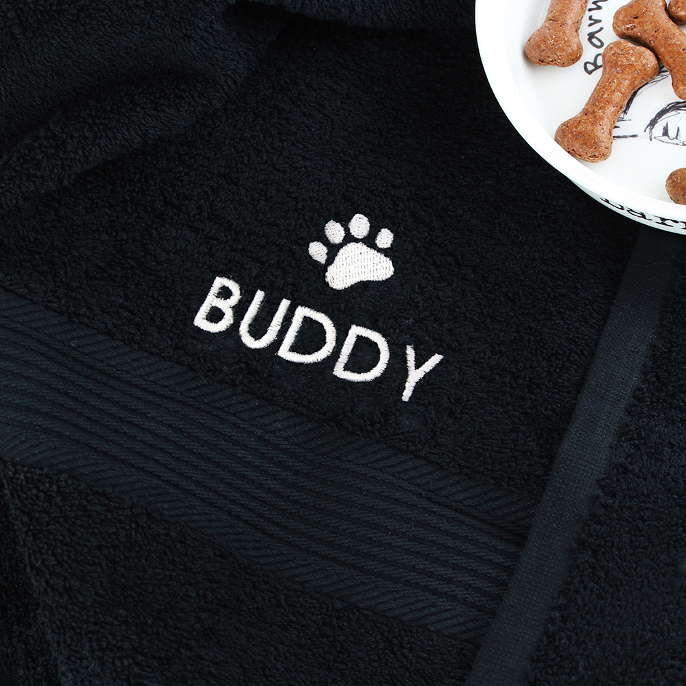Picture of Personalised Pet Paw Black Bath Towel