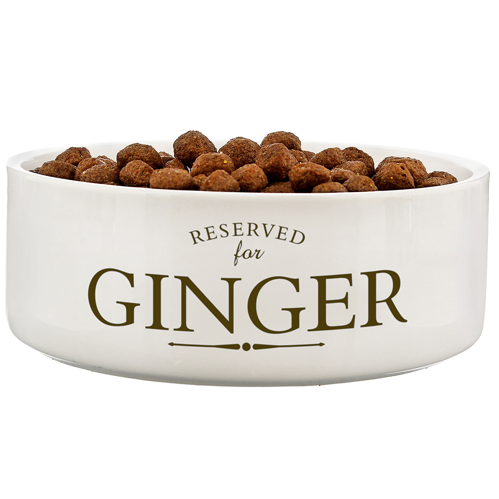 Picture of Personalised 'Reserved For' Medium White Pet Bowl