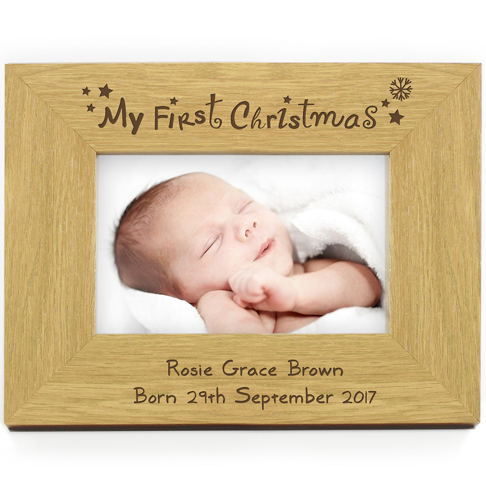 Picture of Personalised Oak Finish 6x4 My First Christmas Photo Frame