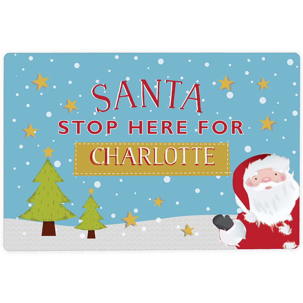 Picture of Personalised 'Santa Stop Here' Metal Sign
