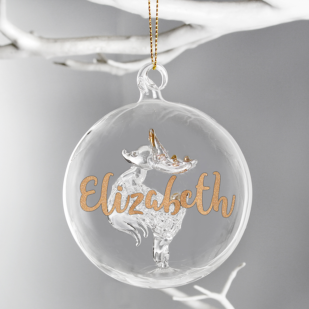 Picture of Personalised Gold Glitter Reindeer Glass Bauble
