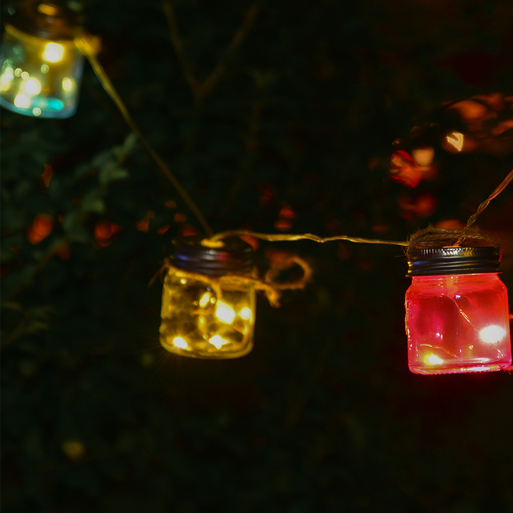 Picture of Firefly: 8 Glass Mason Jar LED String Solar Lights
