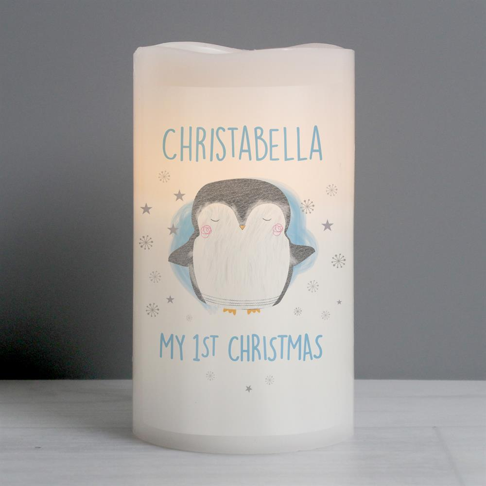 Picture of Personalised 1st Christmas Penguin LED Candle