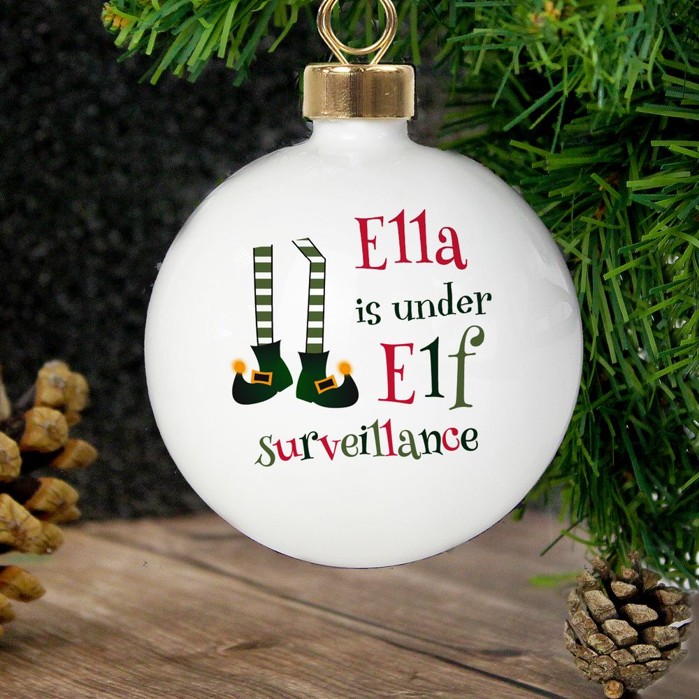 Picture of Personalised Elf Surveillance Bauble