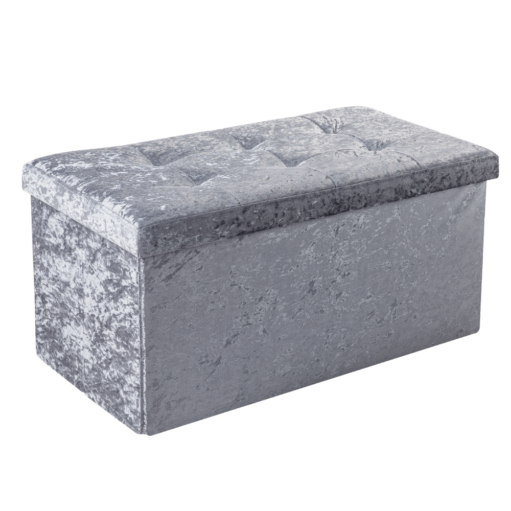 Picture of Crushed Velvet Grey Ottoman