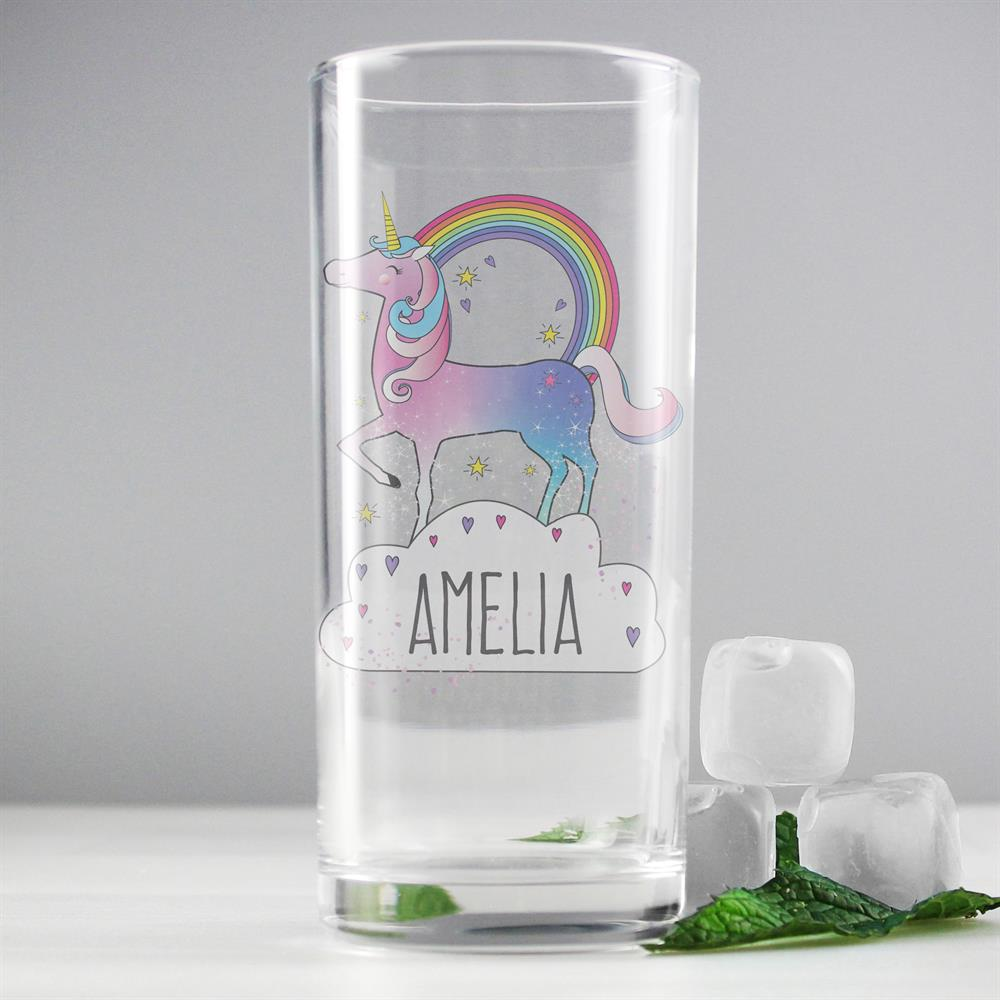 Picture of Personalised Unicorn Hi Ball Glass
