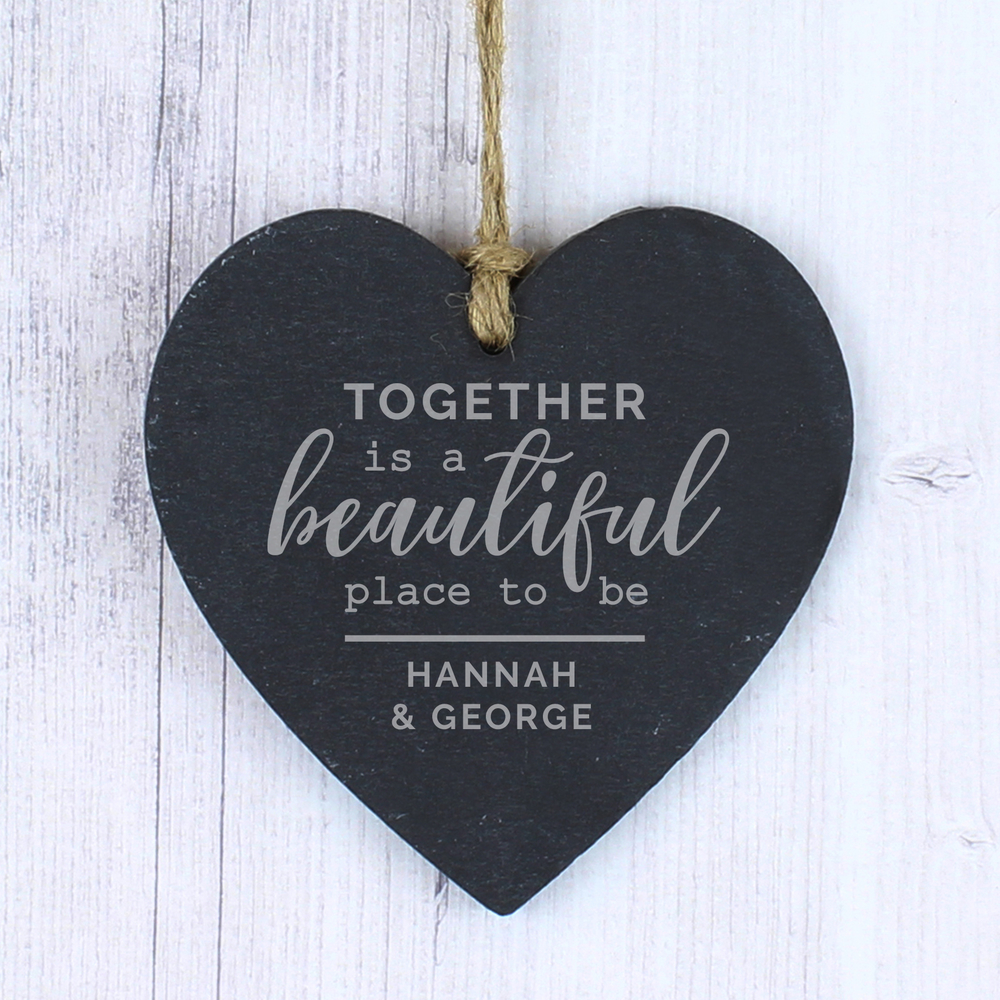 Picture of Personalised Together Slate Heart Decoration