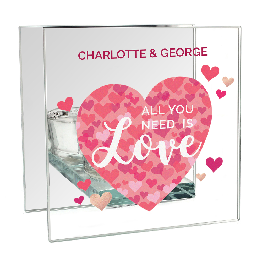 Picture of Personalised 'All You Need is Love' Confetti Hearts Glass Tea Light Candle Holder