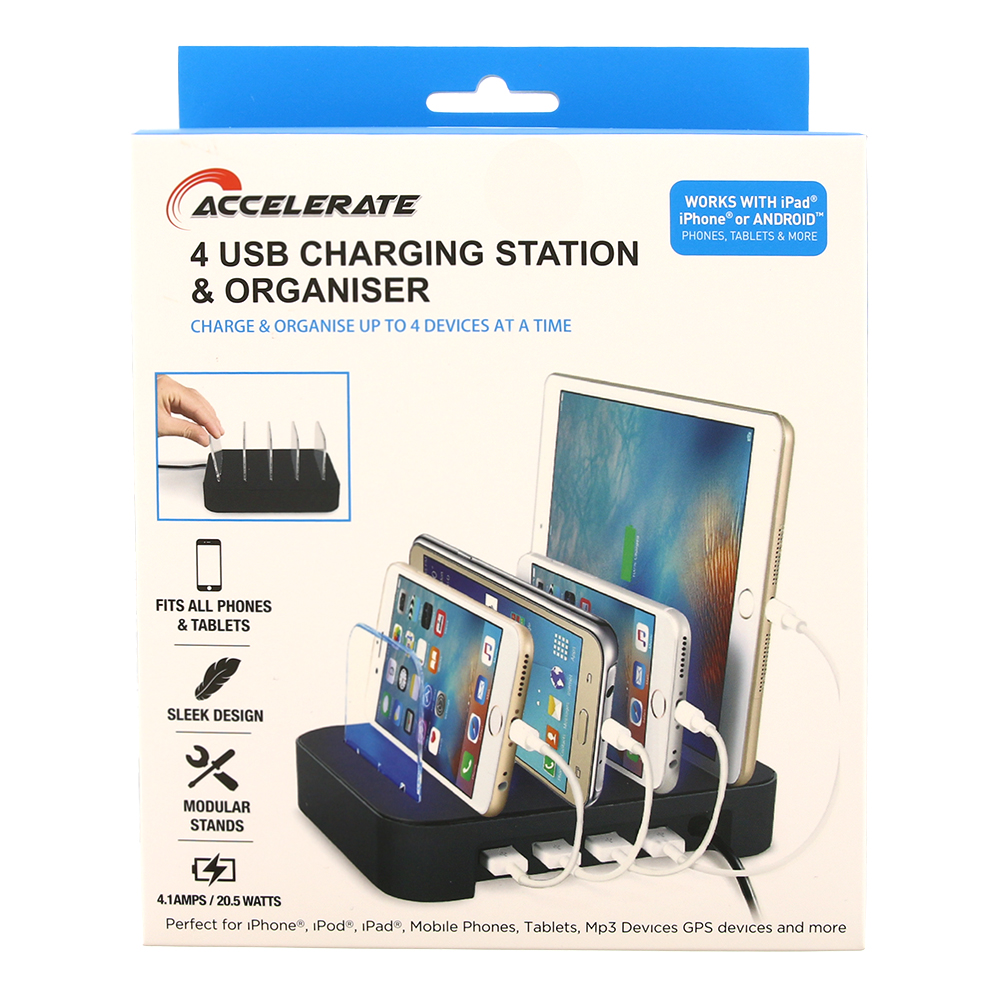 Picture of Accelerate 4 Port USB Charging Station & Organiser
