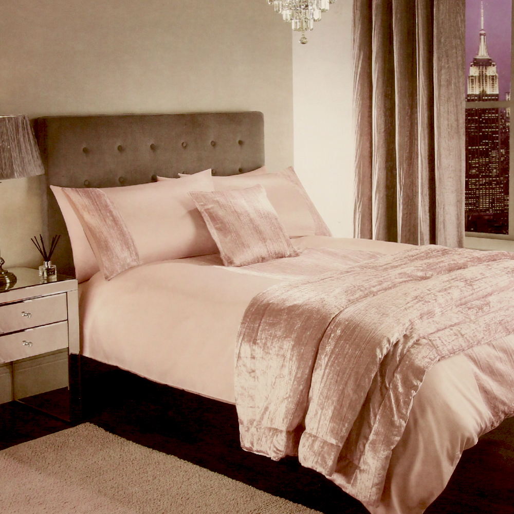 Picture of Adore Collection: Blush Crinkle Velvet Luxury Bedding Set