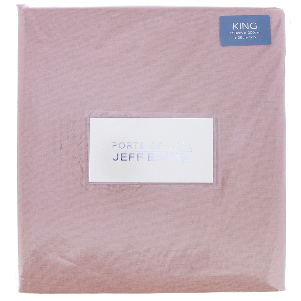 Picture of Ports of Call Jeff Banks: King Size Fitted Sheet (Blush)