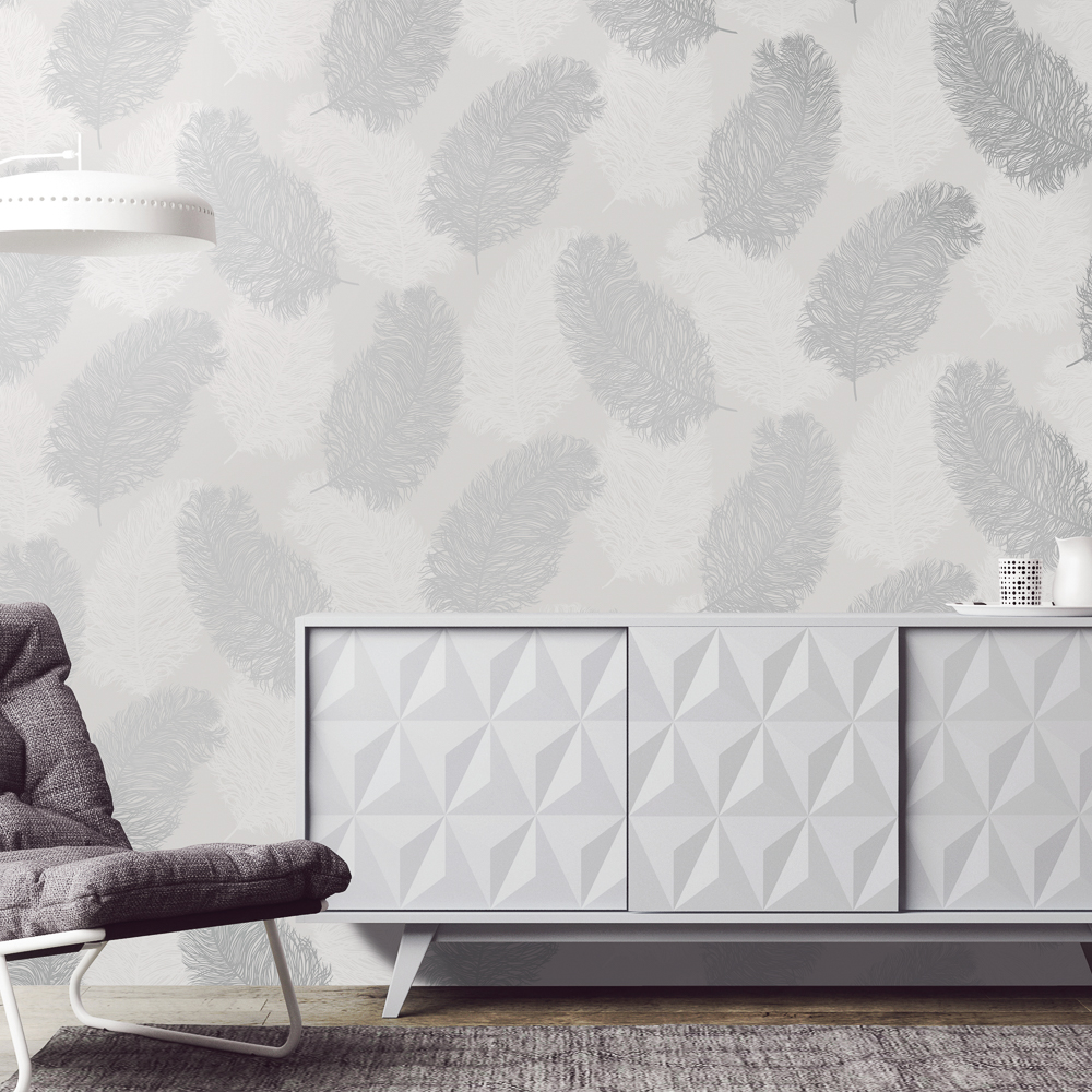 Picture of K2 Feature Wallpapers: Silver Metallic Plume