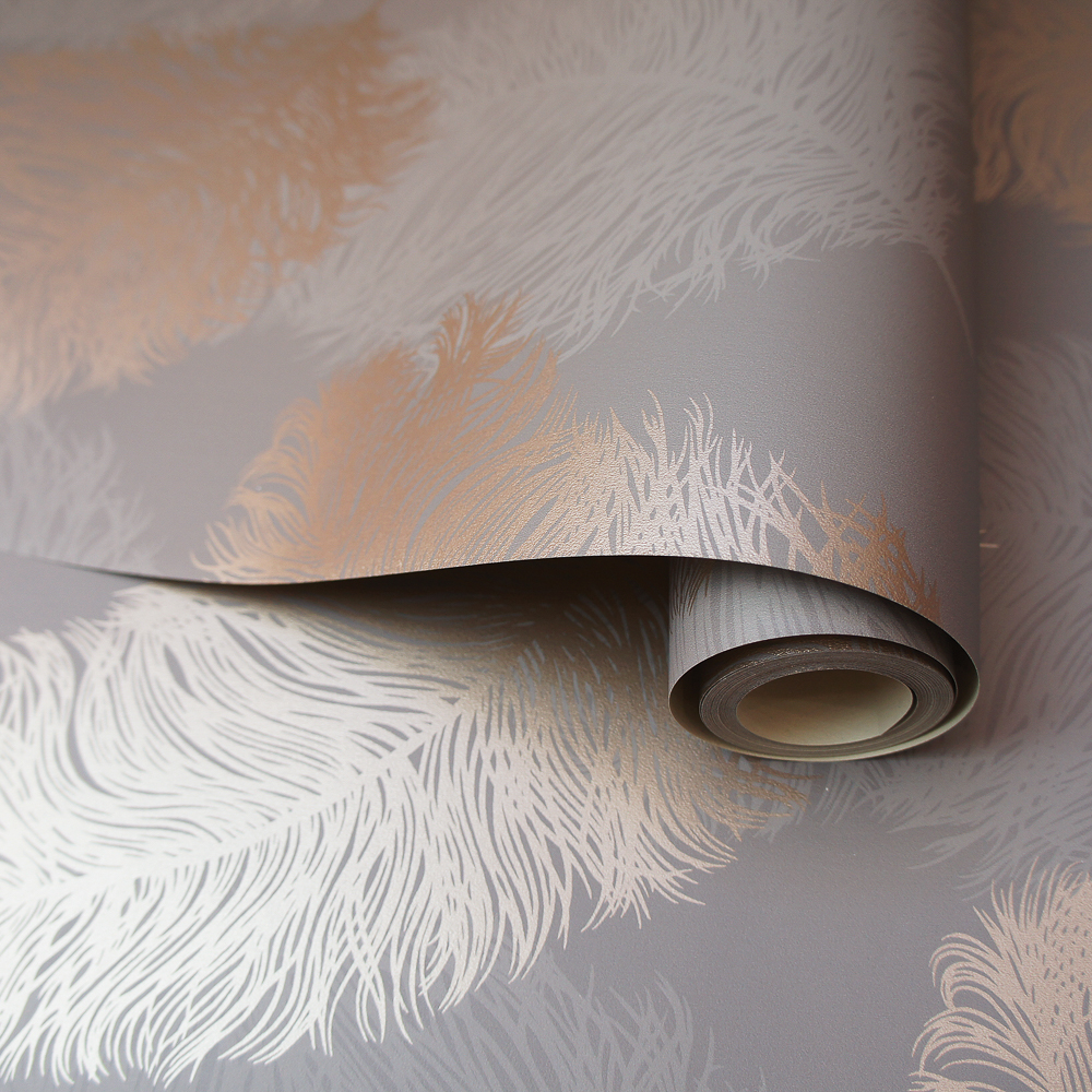 Picture of K2 Feature Wallpapers: Rose Gold/Grey Metallic Plume