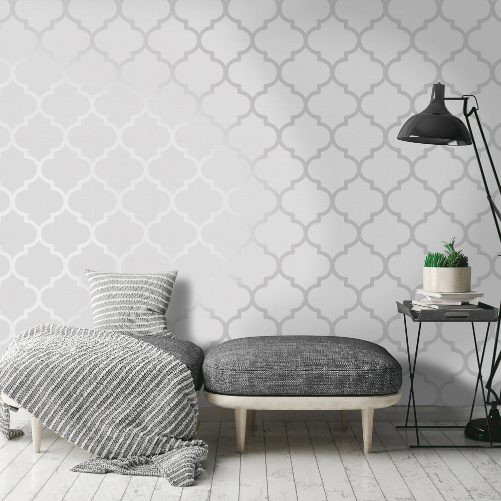 Picture of K2 Feature Wallpapers: Silver Metallic Latice