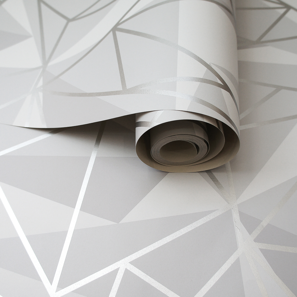 Picture of K2 Feature Wallpapers: Grey/Silver Metallic Shard