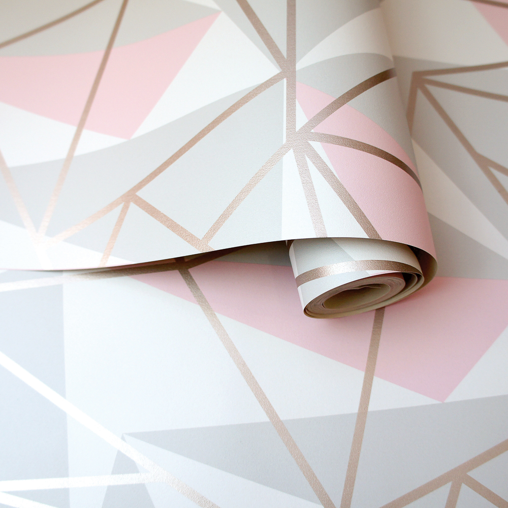 Picture of K2 Feature Wallpapers: Pink/Grey Metallic Shard
