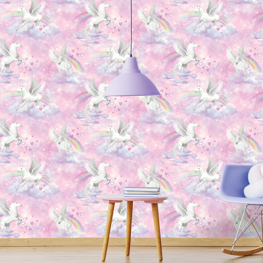 Picture of Kids Wallcovering: Pink Unicorns & Rainbows
