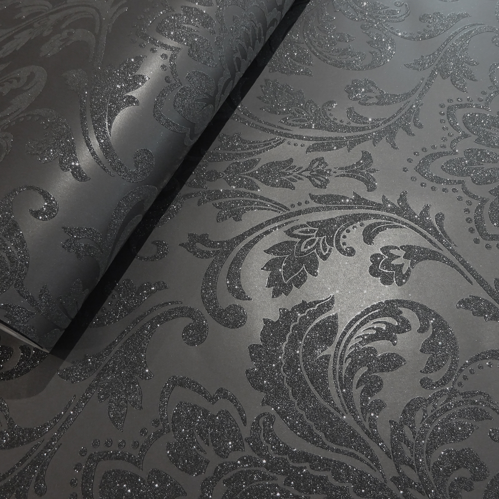 Picture of Statement Opulent Wallcovering: Finley Damask Black