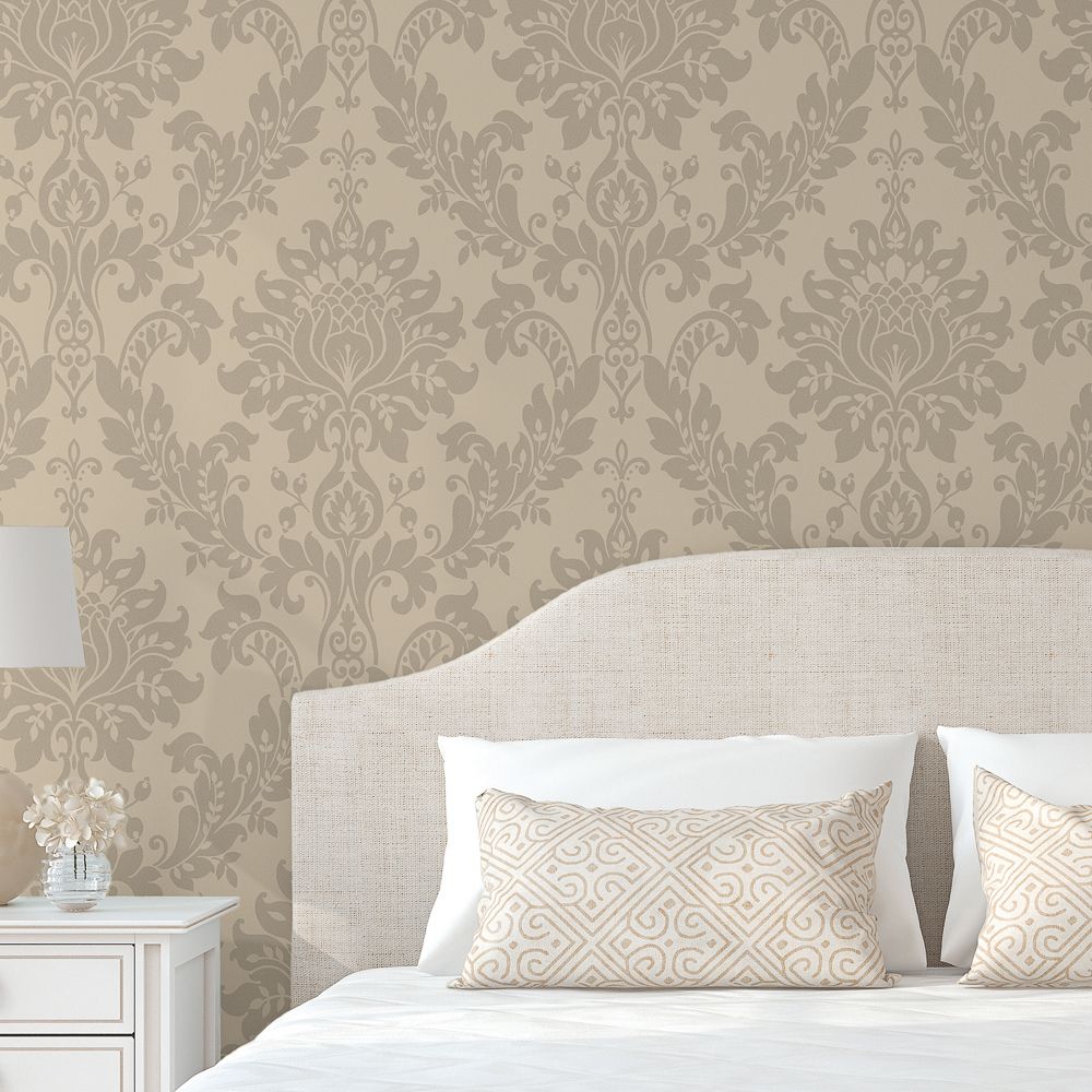 Picture of Opus: Heavyweight Vinyl Bead Damask Taupe