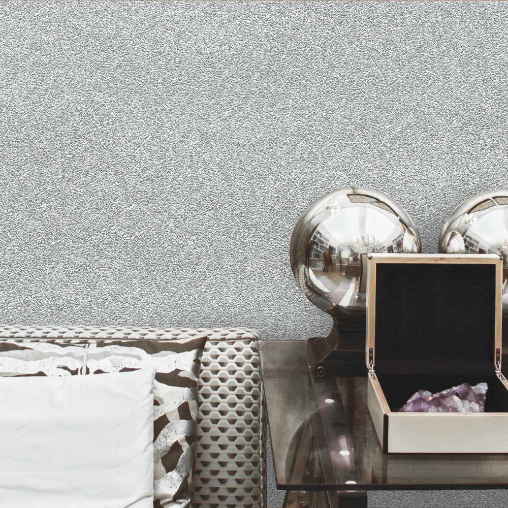 Picture of Statement Opulent Wallcovering: Glitzy Silver Vinyl
