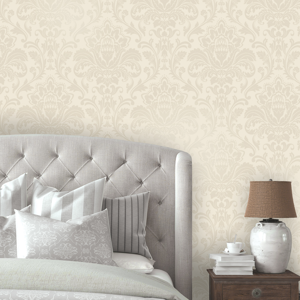 Picture of Statement Opulent Wallcovering: Finley Damask Neutral