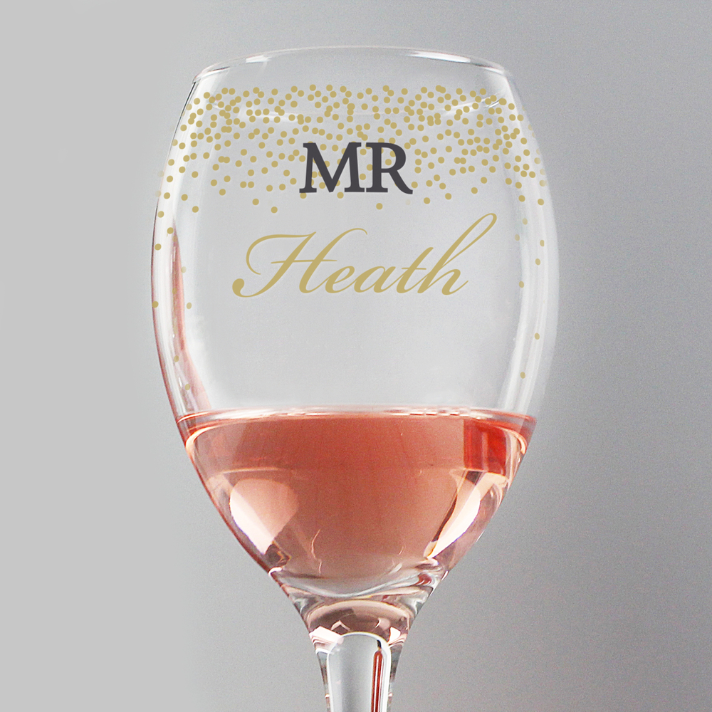 Picture of Personalised Gold Confetti Wine Glass