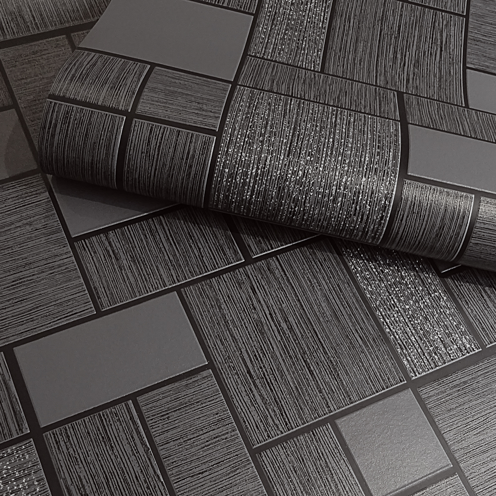 Picture of Tiling on a Roll Wallcovering: Sparkle Tile Black
